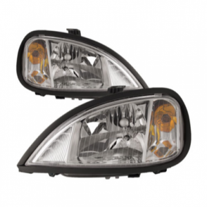 04-11 Freightliner Columbia New Halogen Chrome Headlights Headlamps Pair Set