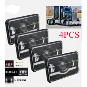 "SET 4 PZS 4x6"" LED Headlights for Kenworth T400 T600 T800 W900L W900B Classic 120/132 H4"
