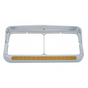 Set Rectangle Dual Headlight Bezel 14 LED Amber/Clear  FT309