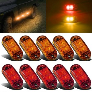 "set 10 pcs Red/Amber RV Trailer Lights LED Clearance 2.5"" Side Marker Waterproof 12-24V"
