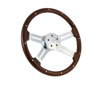 "18"" Wood Steering Wheel Chrome 4 Spoke Freightliner, Kenworth, Peterbilt, Mack"